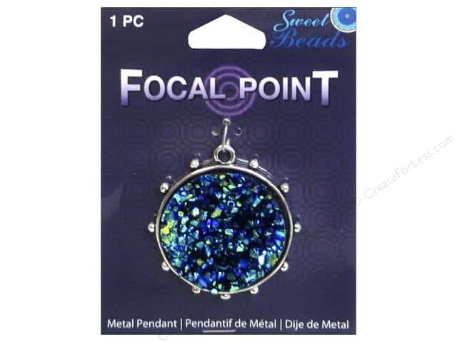 Sweet Beads EWC Focal Point Pendant Metal Round 40mm Blue 1pc