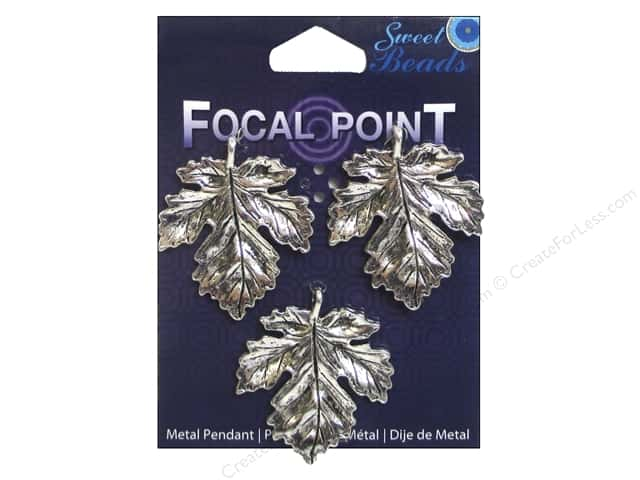 Sweet Beads EWC Focal Point Pendant Metal Maple Leaf Silver 3pc