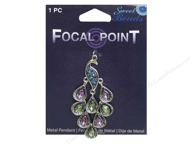 Sweet Beads EWC Focal Point Pendant Metal Peacock Silver 1pc