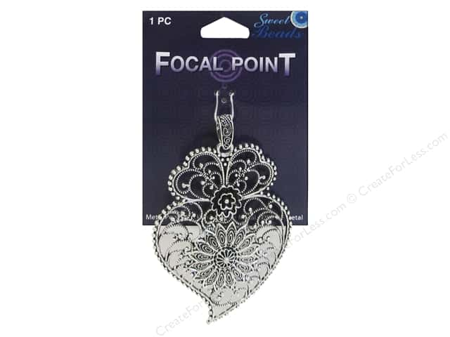 Sweet Beads EWC Focal Point Pendant Metal Paisley #2 Silver 1pc