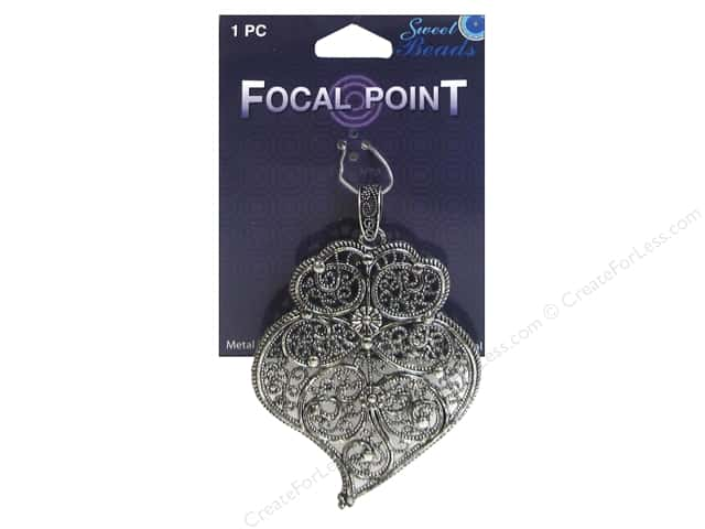 Sweet Beads EWC Focal Point Pendant Metal Paisley #1 Silver 1pc