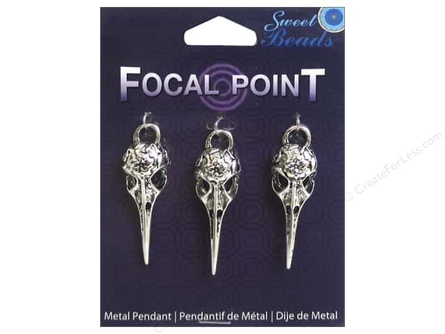 Sweet Beads EWC Focal Point Pendant Metal Bird Skull Silver 3pc