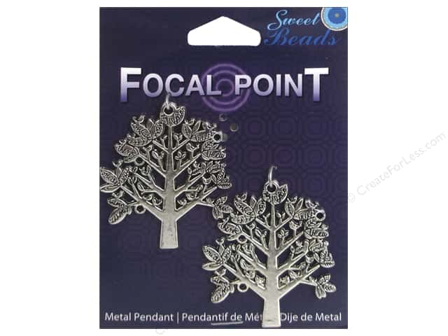 Sweet Beads EWC Focal Point Pendant Metal Tree Silver 2pc