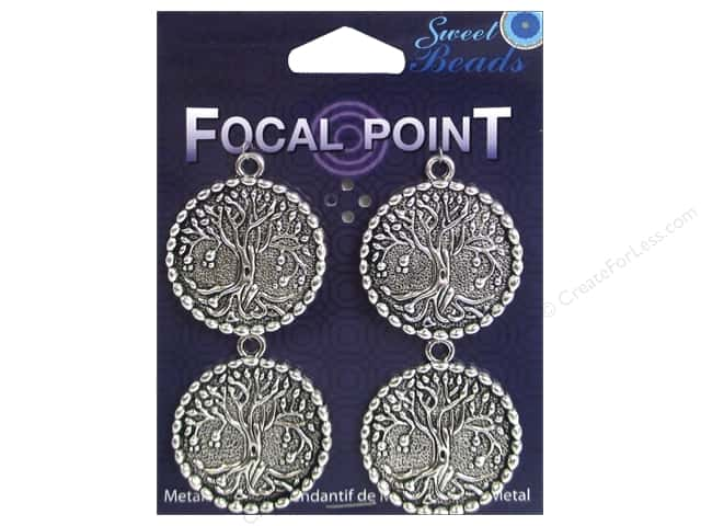 Sweet Beads EWC Focal Point Pendant Metal Round Tree Silver 3pc