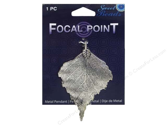 Sweet Beads EWC Focal Point Pendant Metal Leaf Silver 1pc