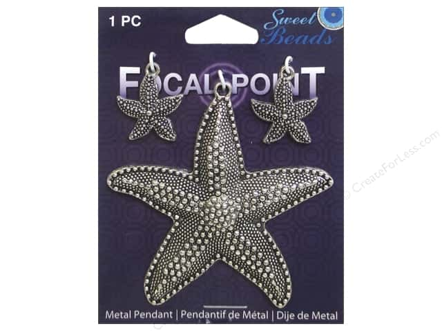 Sweet Beads EWC Focal Point Pendant Metal Starfish Silver 3pc