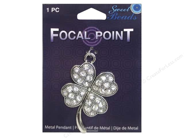 Sweet Beads EWC Focal Point Pendant Metal Clover Silver 1pc