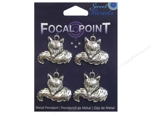 Sweet Beads EWC Focal Point Pendant Metal Foxtail Silver 4pc