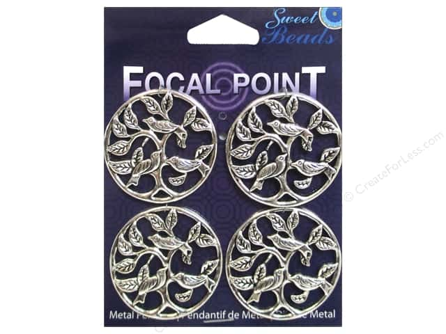Sweet Beads EWC Focal Point Pendant Metal Birds Silver 4pc