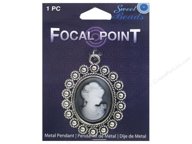Sweet Beads EWC Focal Point Pendant Metal Jet Cameo Silver 1pc