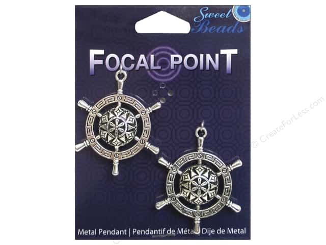 Sweet Beads EWC Focal Point Pendant Metal Compass Silver 2pc