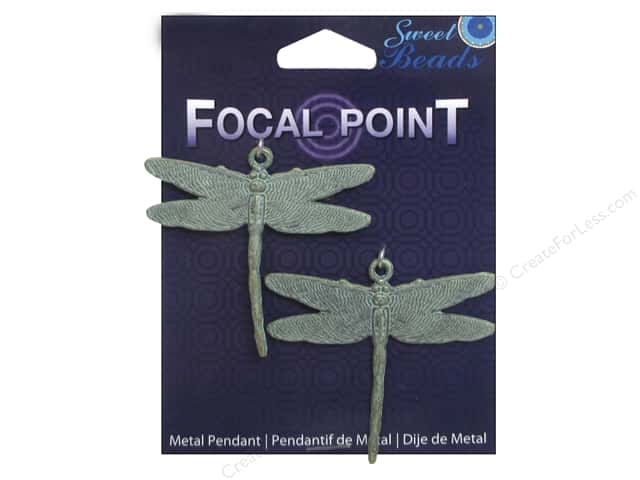 Sweet Beads EWC Focal Point Pendant Metal Dragonfly Blue 2pc