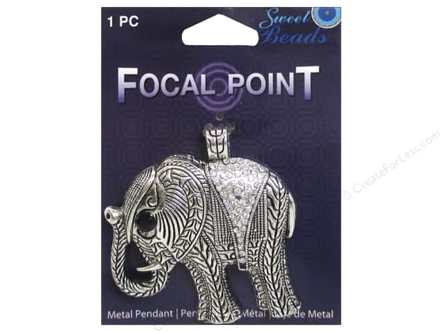 Sweet Beads EWC Focal Point Pendant Metal Elephant Silver 1pc