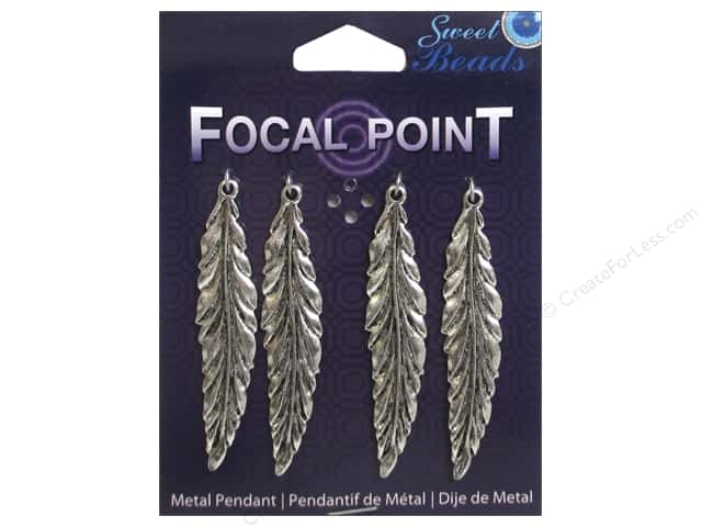 Sweet Beads EWC Focal Point Pendant Metal Feather Silver 4pc