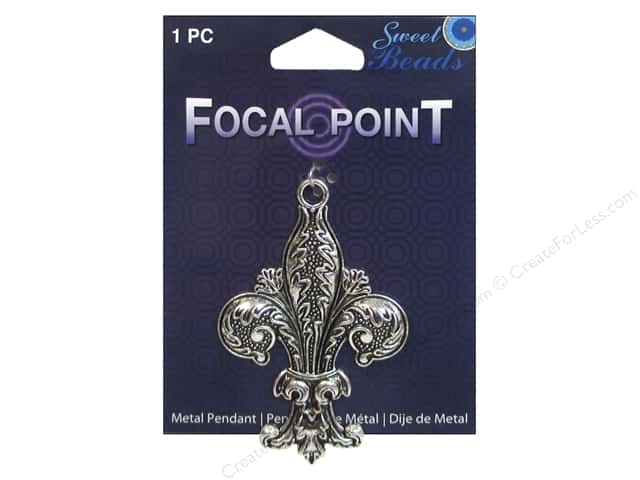 Sweet Beads EWC Focal Point Pendant Metal Fleur de Lis Silver 1pc