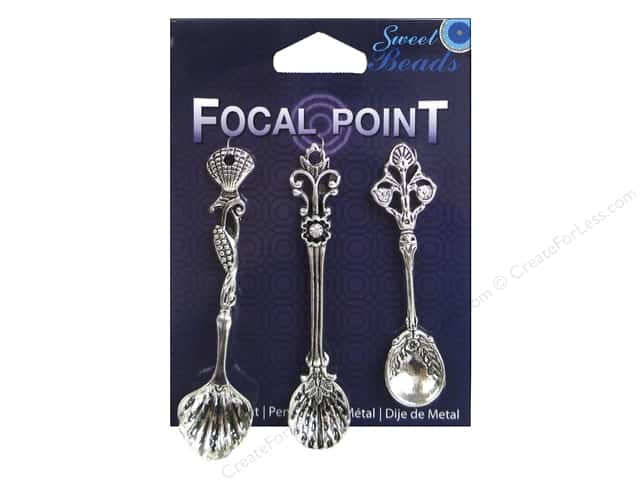 Sweet Beads EWC Focal Point Pendant Metal Spoons Silver 3pc
