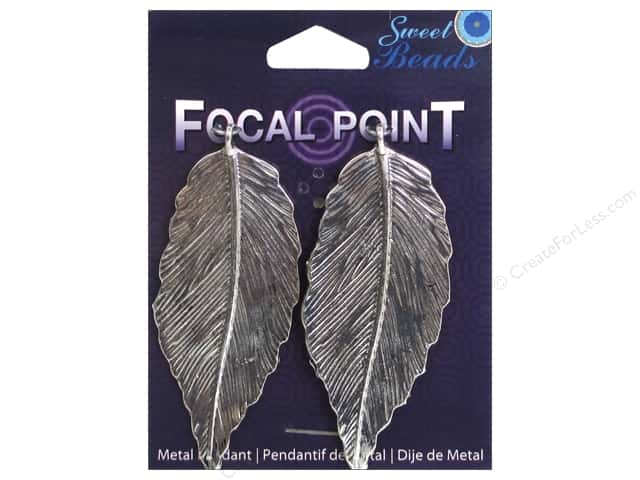 Sweet Beads EWC Focal Point Pendant Metal Feather 70mm Silver 2pc