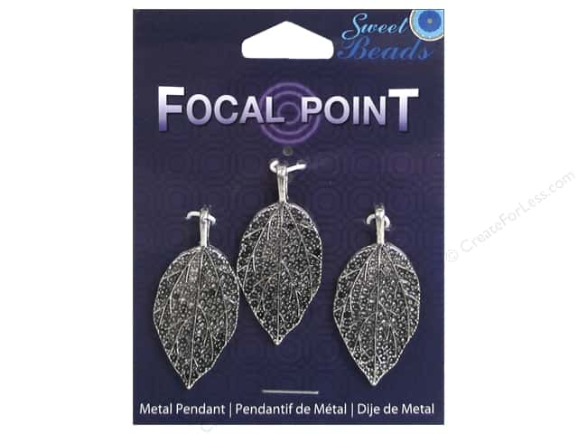 Sweet Beads EWC Focal Point Pendant Metal Leaf 40mm Silver 3pc