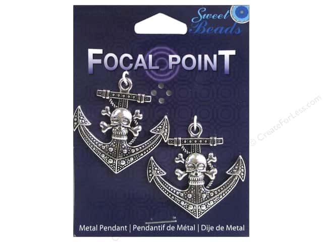 Sweet Beads EWC Focal Point Pendant Metal Skull Anchor Silver 2pc