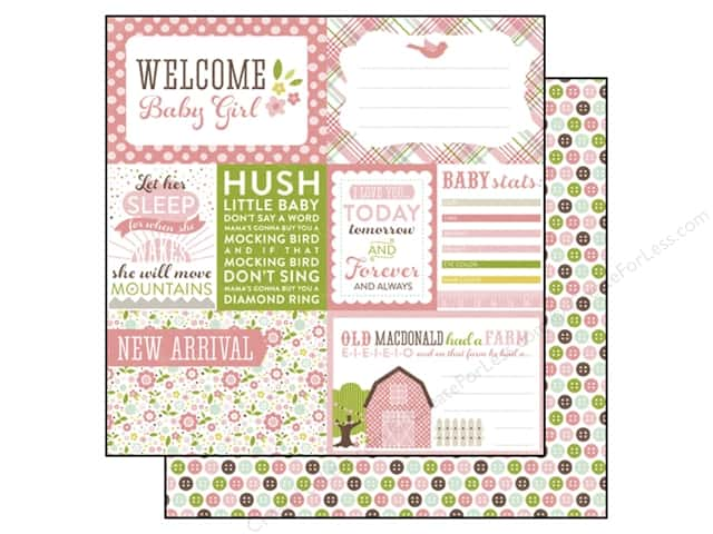 Echo Park 12 x 12 in. Paper Bundle of Joy Girl Collection Welcome Baby Girl (25 sheets)