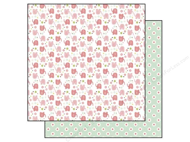 Echo Park 12 x 12 in. Paper Bundle of Joy Girl Collection Baby Elephants (25 sheets)