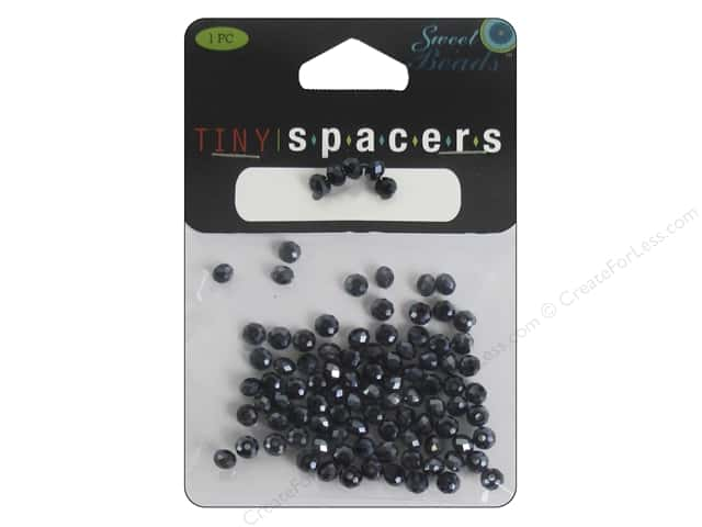 Sweet Beads EWC Tiny Spacers Collection Glass Rondelle 3x5mm Hematite 95pc