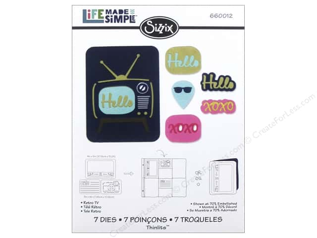 Sizzix Thinlits Die Set 7 pc. Retro TV