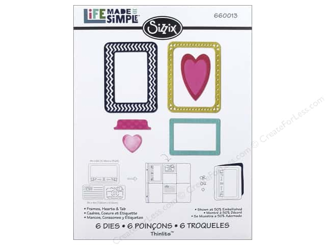 Sizzix Thinlits Die Set 6 pc. Hearts & Tab Frames