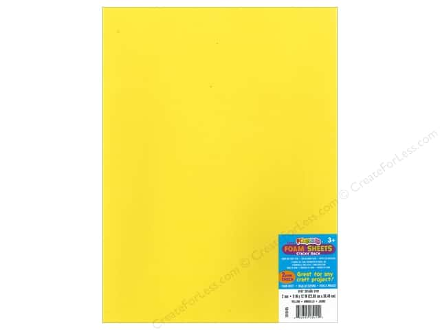 Foamies Sticky Back Sheets 9 x 12 in. 2 mm. Yellow (10 sheets)