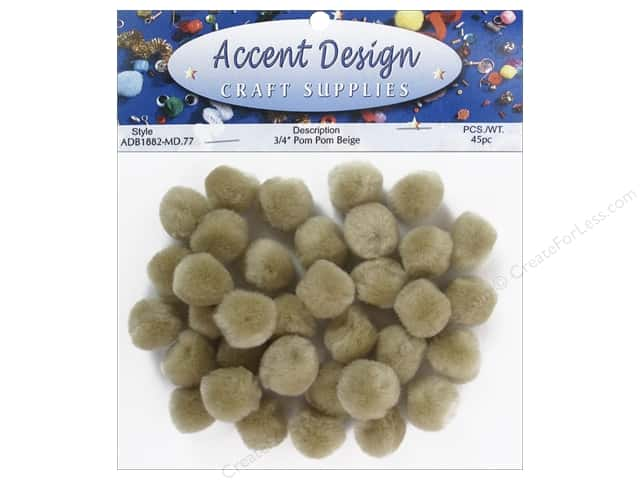 PA Essentials Pom Poms 3/4 in. Beige 45 pc.
