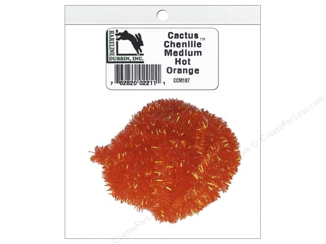 Hareline Dubbin Cactus Chenille Medium Hot Orange