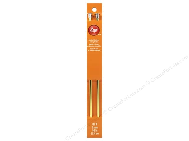 Boye Single Point Knitting Needles Aluminum 10 in. Size 8 (5 mm)