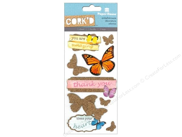 Paper House Sticker Cork Butterflies