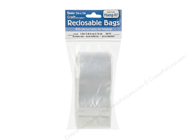 Darice Craft Designer Reclosable Hanging Storage Bags 2 x 3 in. 100 pc. Clear