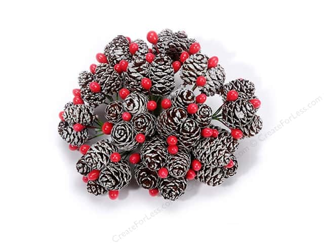 Darice Pinecone and Berry Picks 12 pc. Frosted