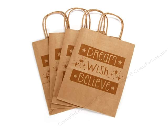 Darice Paper Crafter Bag 8 x 10 1/4 in. Dream Wish Believe 4 pc. Kraft