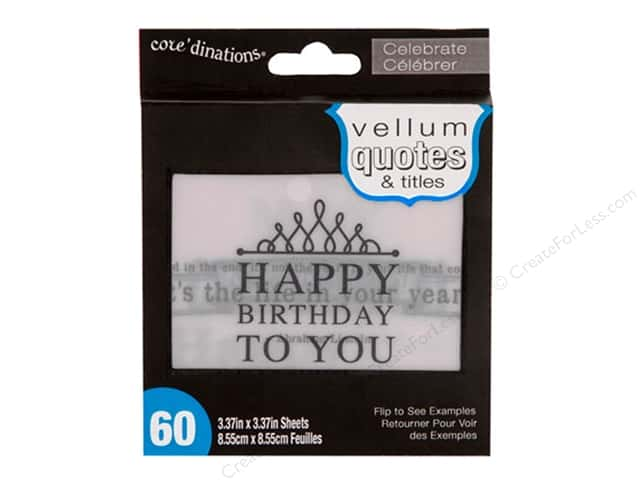 Coredinations Vellum Quotes & Titles 3 3/8 in. Celebrate 60 pc.