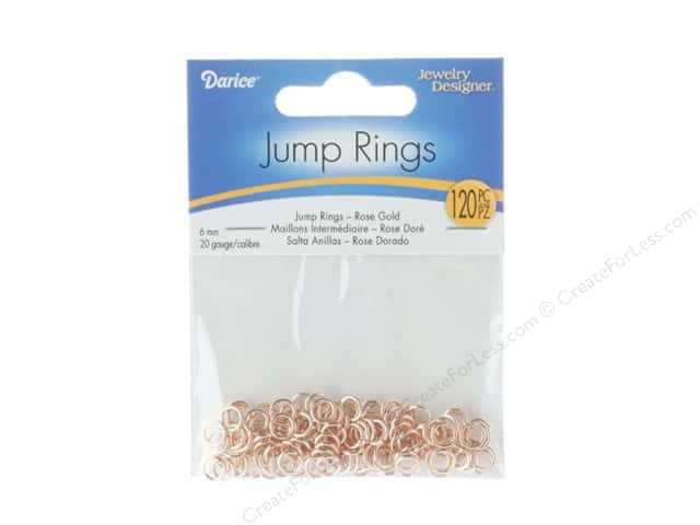 Darice Jewelry Designer Jump Rings 1/4 in. Rose Gold 120 pc.