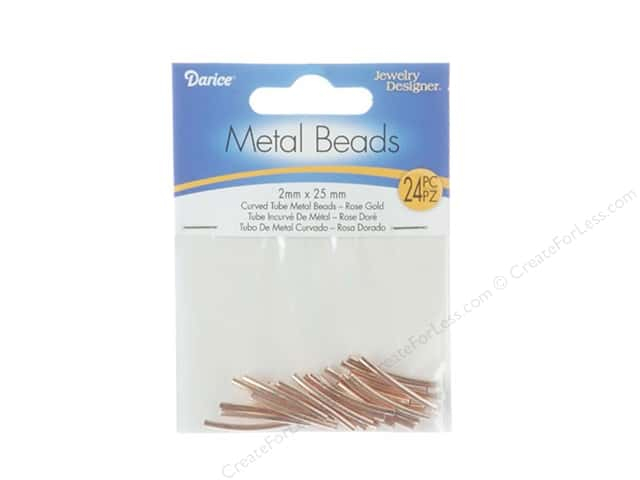 Darice Metal Beads 2 x 25mm Curved Tube 24 pc. Rose Gold