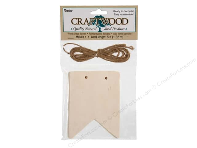 Darice Wood Flag Banner with Jute 3 x 4 in. 5 pc.