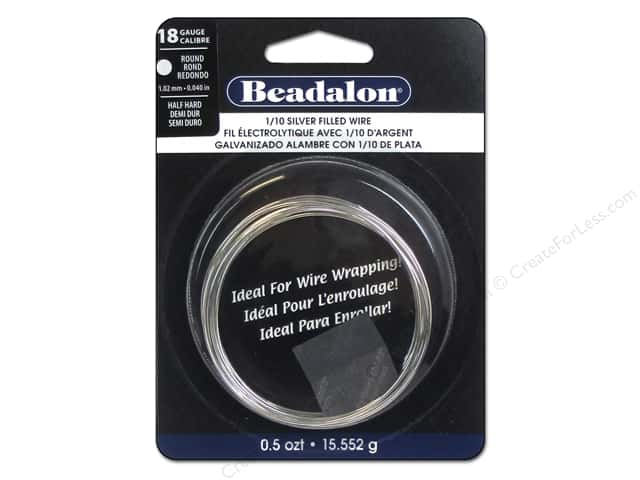 Beadalon 1/10 Silver Filled Wire 18 ga Round Half Hard 0.5 oz.