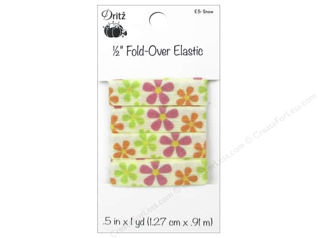Fold-Over Elastic by Dritz 1/2 in. x 1 yd. Floral Snow