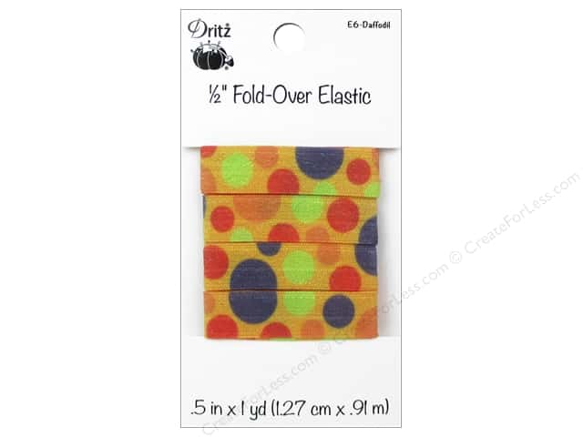 Fold-Over Elastic by Dritz 1/2 in. x 1 yd. Large Dots Daffodil