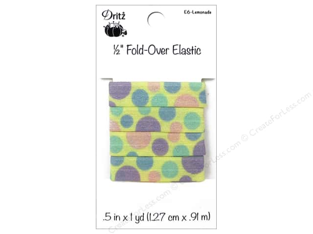 Fold-Over Elastic by Dritz 1/2 in. x 1 yd. Large Dots Lemonade