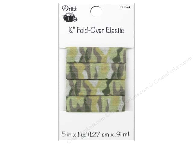 Fold-Over Elastic by Dritz 1/2 in. x 1 yd. Camo Duck
