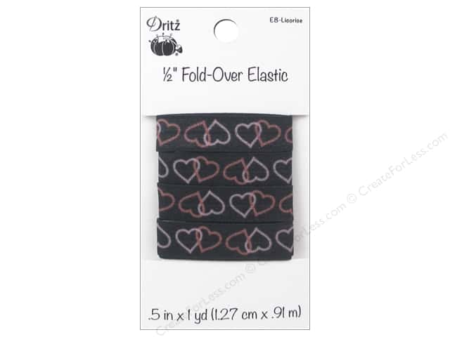 Fold-Over Elastic by Dritz 1/2 in. x 1 yd. Heart Licorice