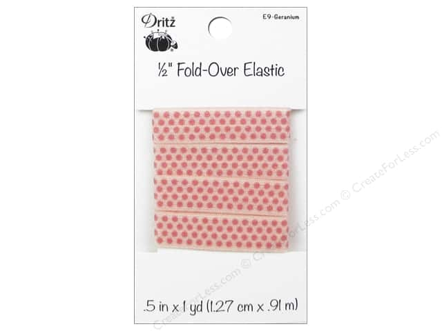 Fold-Over Elastic by Dritz 1/2 in. x 1 yd. Small Dots Geranium