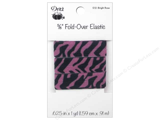 Fold-Over Elastic by Dritz 5/8 in. x 1 yd. Zebra Bright Rose