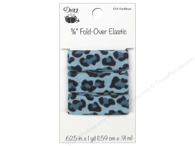 Fold-Over Elastic by Dritz 5/8 in. x 1 yd. Leopard Caribbean