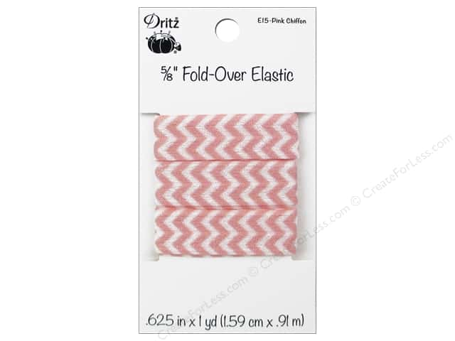 Fold-Over Elastic by Dritz 5/8 in. x 1 yd. Chevron Pink Chiffon